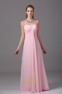 Long Pink Chiffon Bridesmaid Dress, Strapless Chiffon