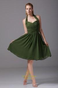 Short Hunter Green Prom Dress, Short Chiffon Halter ...