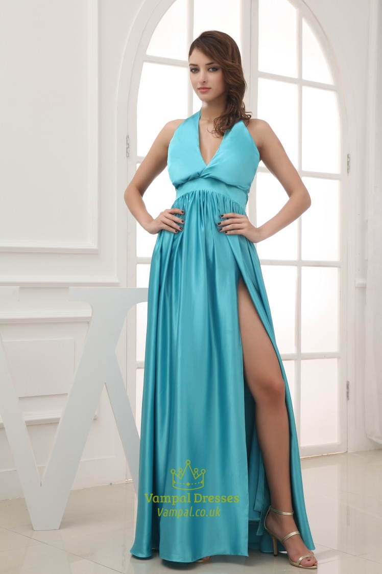Turquoise Blue Prom Dresses 2016 VNeck Halter Prom Dress  Vampal Dresses