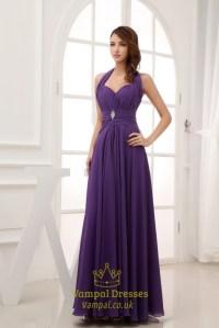 Purple Halter Prom Dresses, Long Chiffon Halter Bridesmaid ...