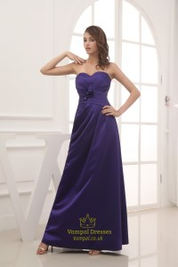 Long Purple Satin Bridesmaid Dresses, Long Strapless ...
