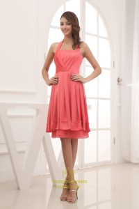 Coral Halter Bridesmaid Dresses, Short Chiffon Halter ...