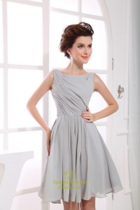 Short Grey Chiffon Bridesmaid Dresses, Short Pleated ...