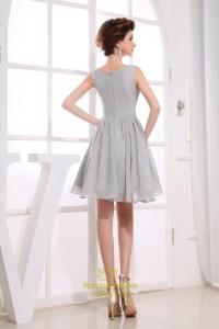 Short Grey Chiffon Bridesmaid Dresses, Short Pleated ...