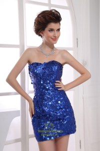 Royal Blue Sequin Party Dress, Short Tight Sequin ...
