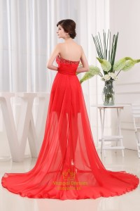 Red Chiffon Prom Dresses, Strapless Applique Beaded ...