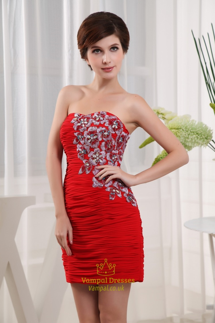 Short Red Strapless Cocktail Dress Chiffon Strapless Semi