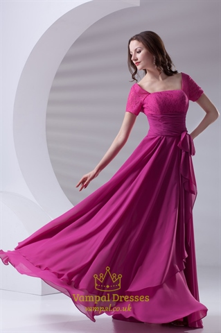 Flowy Chiffon And Lace Fuchsia Short Sleeve Mother Of The