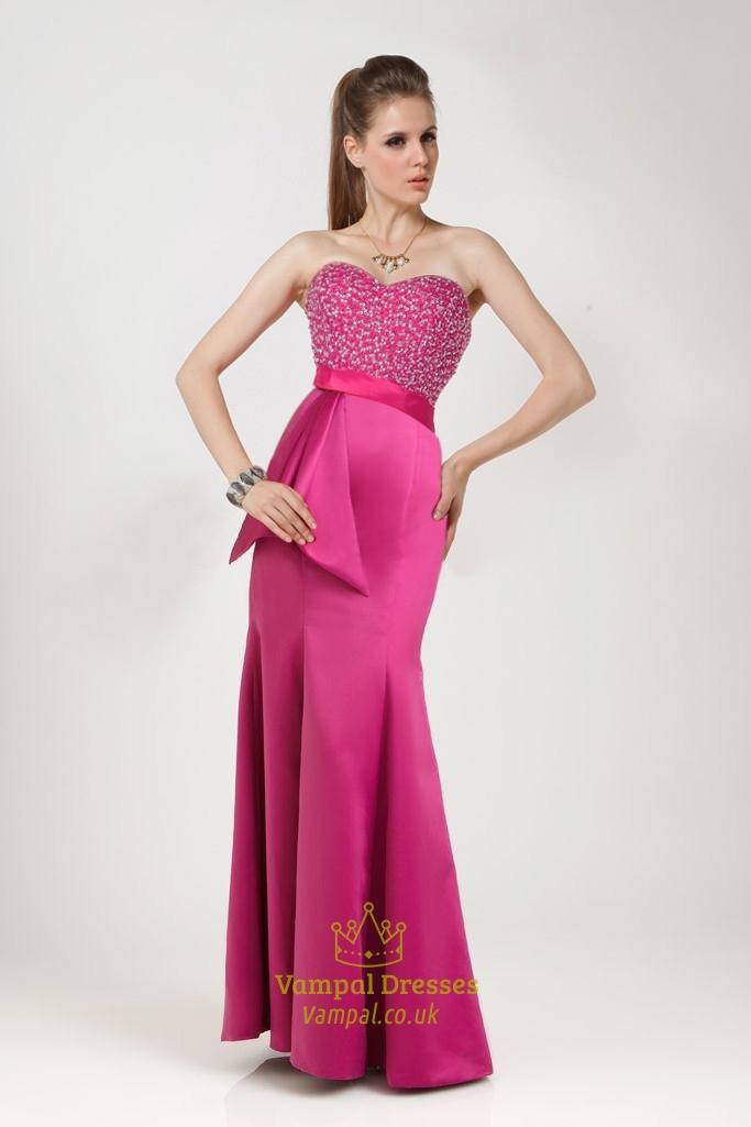 Sunning Fuchsia Mermaid FloorLength Sweetheart Dress
