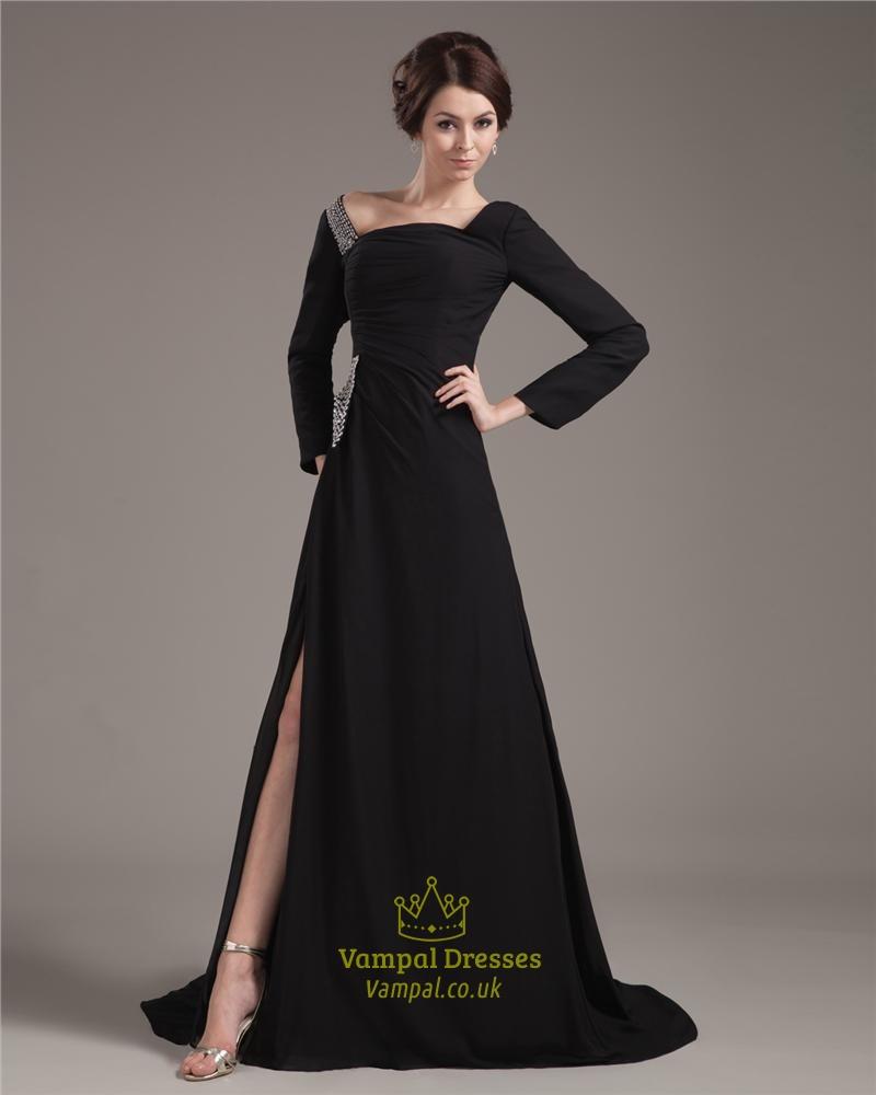 Black Prom Dresses With Long Sleeves,Formal Black Dresses