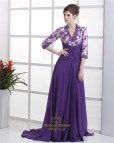 Purple Long Sleeve Evening Gowns Dresses