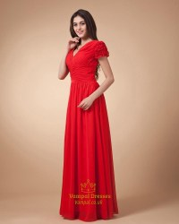 Red Cap Sleeve Dress,Red Prom Dresses With Sleeves ...