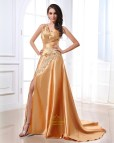 Gold Prom Dress with Slit