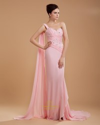 One Shoulder Light Pink Bridesmaid Dresses Chiffon Long ...