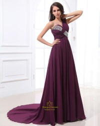 Long Purple One Shoulder Prom Dress,Purple Dress With ...