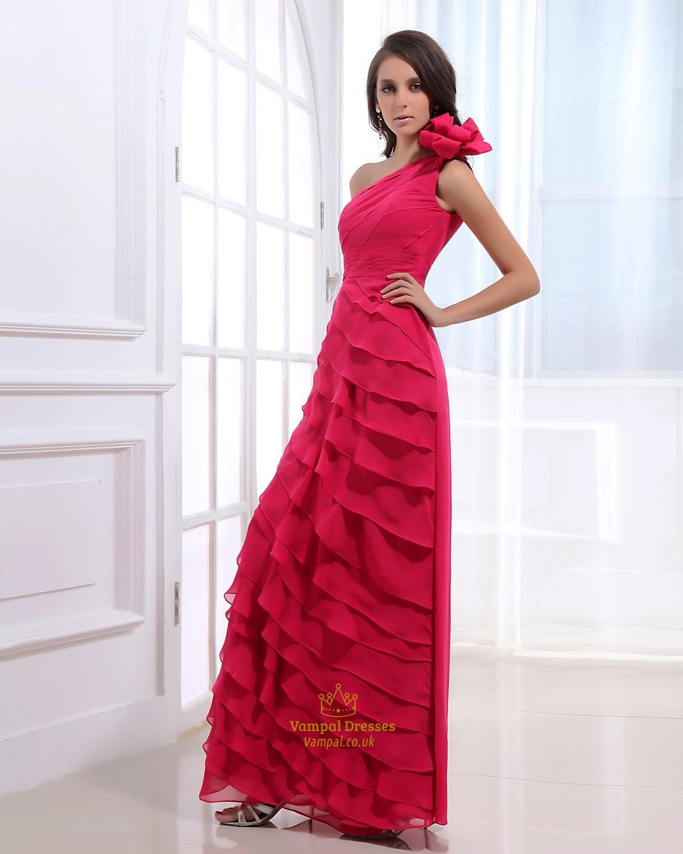 Hot Pink One Shoulder Prom Dress Dark Fuschia Prom