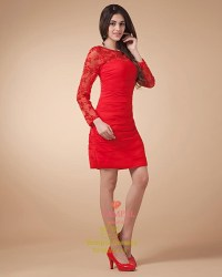 Short Red Dress With Long Sleeves,Red Lace Dress Long ...