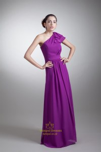 Purple One Shoulder Bridesmaid Dress With Sleeves,Long ...