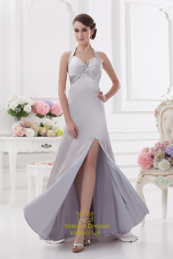 Silver Sequin Halter Prom DressHalter Neck Prom Dress Long With Open Back  Vampal Dresses
