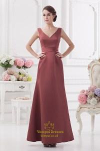 Maroon Dresses For Prom,V Neck A Line Bridesmaid Dress ...
