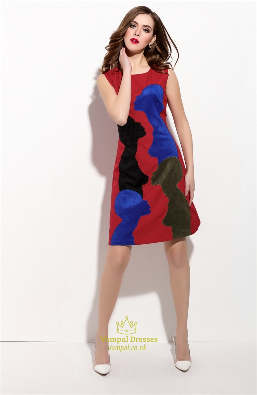 Red Sleeveless Embroidered Applique A Line Summer Dress  Vampal Dresses