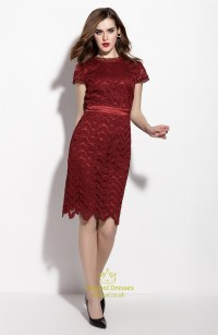 Burgundy Cap Sleeve Knee Length Dress With Lace Applique ...