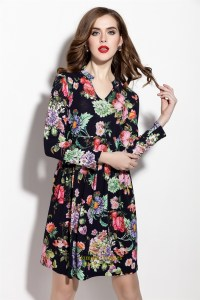 Casual Floral Print Long Sleeve Chiffon Summer Dress ...