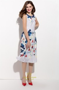 Casual Sleeveless Floral Print Chiffon Tea Length Dress ...