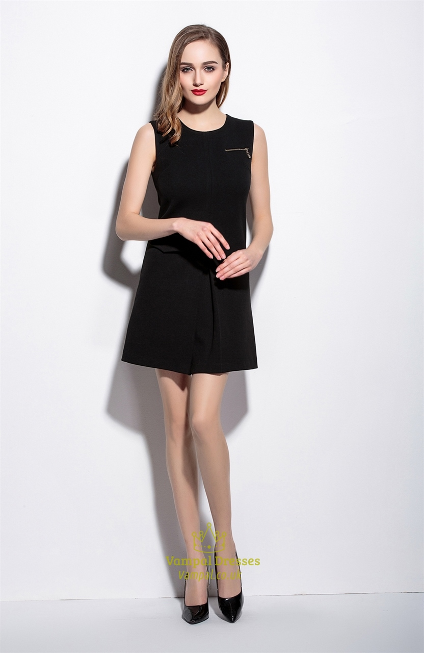 Women's Casual Simple Black Short Sleeveless A-Line Dress ...