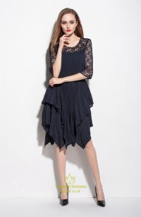 Blue Lace Dress With 34 Sleeves | www.pixshark.com ...