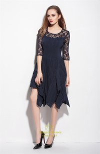 Navy Blue Lace Illusion Neckline Cocktail Dresses With 3/4 ...