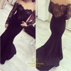 Off the Shoulder Long Sleeve Prom Dresses