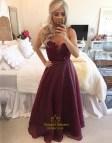 Strapless Burgundy Prom Dress