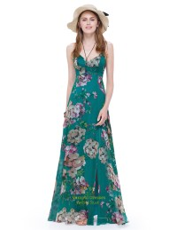 Women's Spaghetti Strap Long Floral Maxi Dress Side Split ...