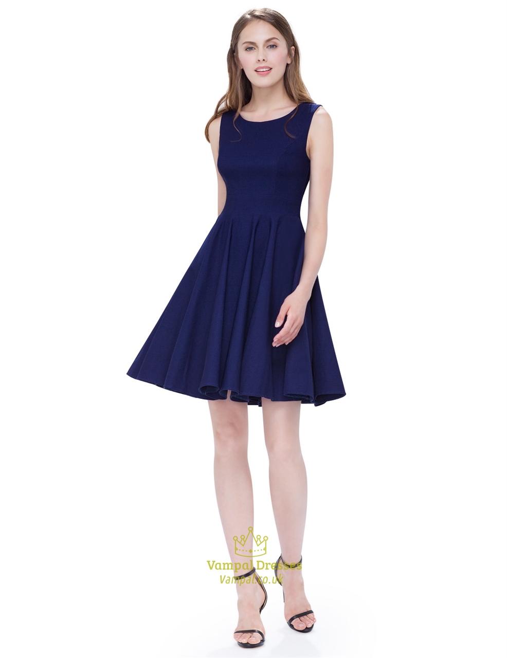 Vintage Navy Blue Scoop Neck Sleeveless Fit And Flare Cocktail Dress  Vampal Dresses