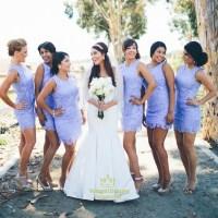 Lilac Lace Sleeveless Knee Length Mini Sheath Bridesmaid ...