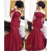 Burgundy Lace Embellished Mermaid Prom Dresses With Sheer ...