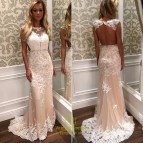 Long Sleeve White Lace Prom Dress