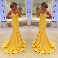 Yellow Sweetheart Long Mermaid Bridesmaid Dresses With ...