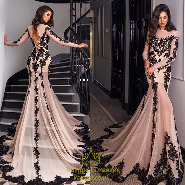 Luxury Long Sleeve Embellished Lace Overlay Prom Dress With Train  Vampal Dresses