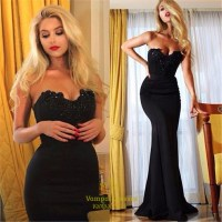 Black Strapless Sweetheart Mermaid Embellished Long Prom ...