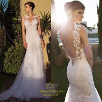Ivory Sheer Lace Embellished Open Back Tulle Mermaid ...
