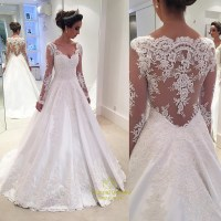 White Lace Applqiue Sheer Long Sleeve Ball Gown Wedding ...