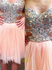 Peach Sweetheart Short Beaded Bodice Prom Dress With ...