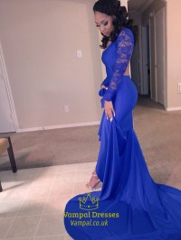 Royal Blue Lace Long Sleeve Mermaid Prom Dress With Open ...