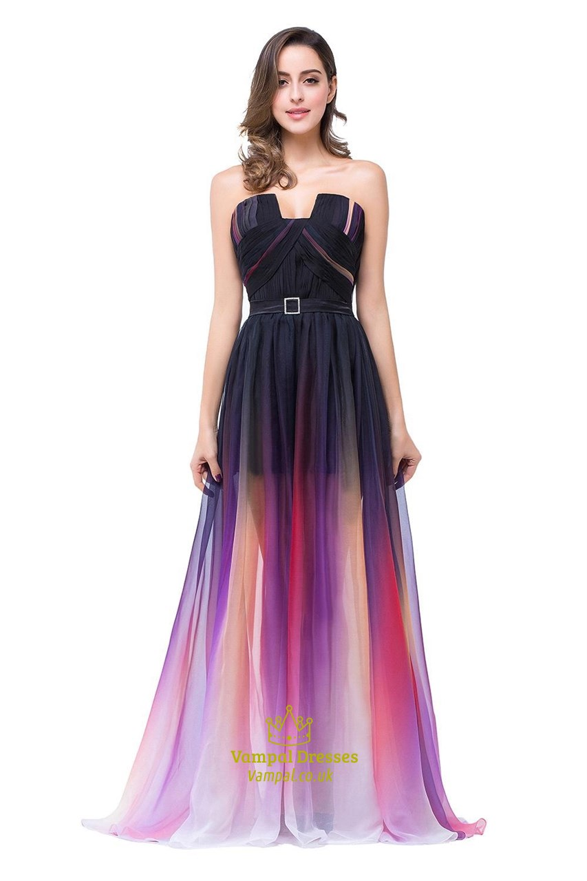Multicolour Strapless Sweetheart Floor Length Chiffon Prom