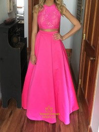 Hot Pink Two Piece Lace Embellished Top Floor Length Prom ...