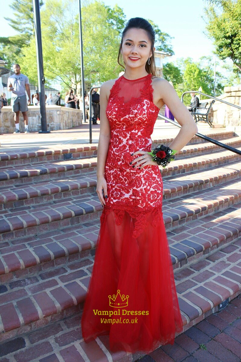 Red Floor Length Lace Embellished Bodice Mermaid Formal