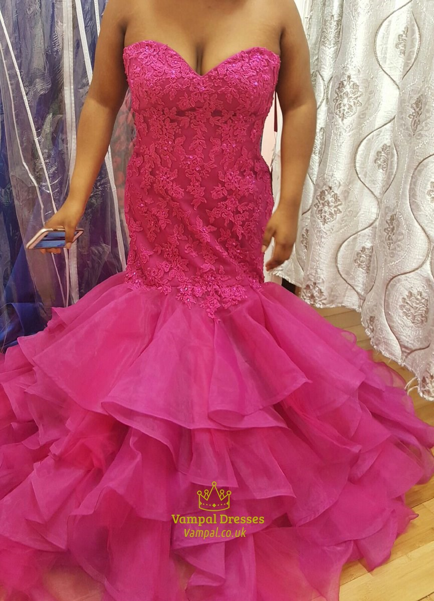 Hot Pink Strapless Sweetheart Lace Bodice Mermaid Evening Dress  Vampal Dresses
