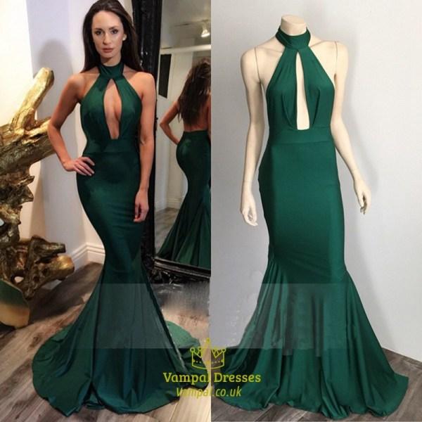 Emerald Green High Neckline Mermaid Prom Dress With